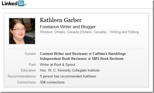 Kathleen's Garber LinkedIn Profile.